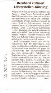 Bernhard kritisiert Lehrerstellen-Kürzungen SZ 30.7.2014