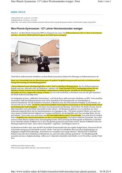 Max-Planck-Gymnasium- 127 Lehrer-Wochenstunden weniger Münchner Merkur 3.8.2014-001