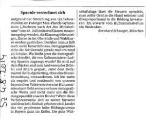 Spaenle verrechnet sich - SZ Leserbrief 4.8.2014