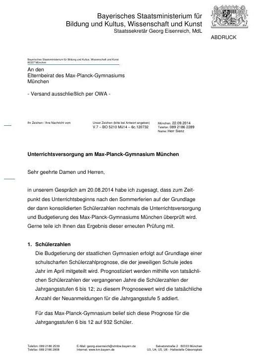 Schreiben des Kultusministeriums