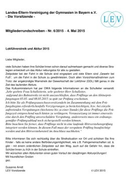 Lokstreik und Abitur 2015