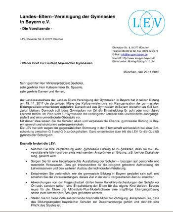 Offener Brief LEV